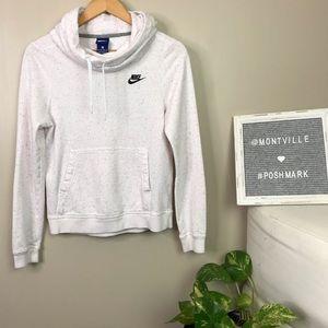 Nike Cowl Neck Hoodie White Speckled Sweatshirt XS
